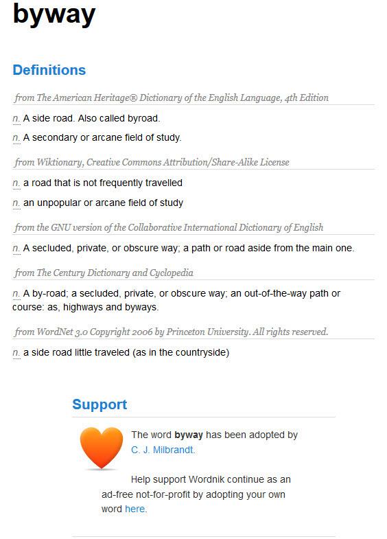 Byway Adoption on Wordnik